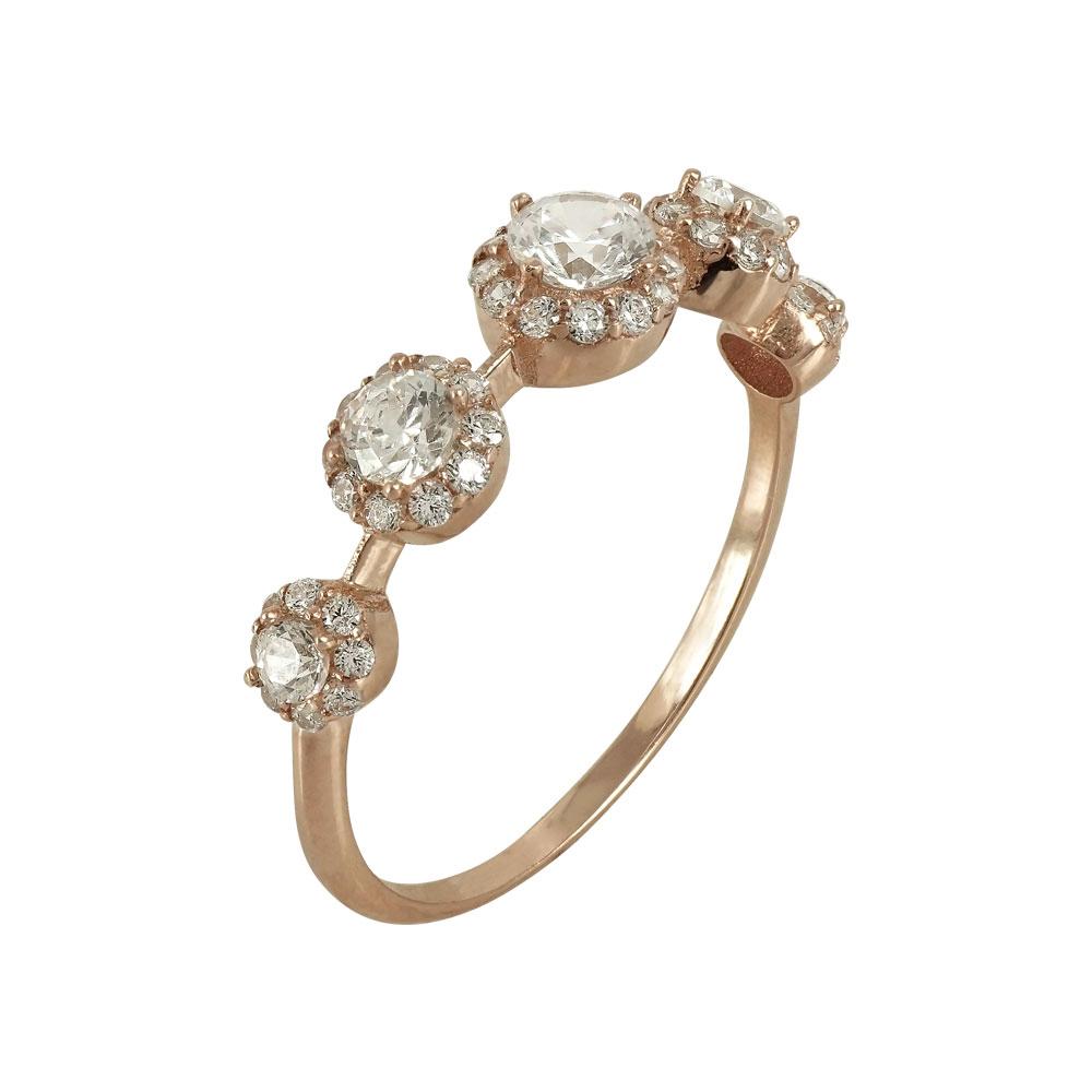 Ροζ Χρυσό Δαχτυλίδι Με Πέτρες Κ14 DX645  dab1681cb1f