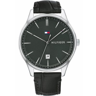 TOMMY HILFIGER Damon Black Leather Strap 1791494