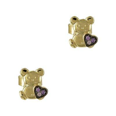 Κίτρινα Χρυσά Παιδικά Σκουλαρίκια Αρκουδάκι Κ9 PSK343