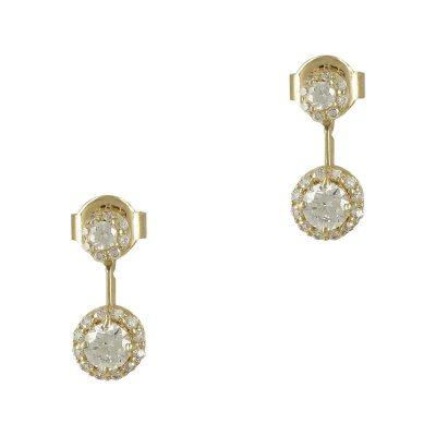 Kίτρινα Χρυσά Σκουλαρίκια Με Πέτρες K14 SK753