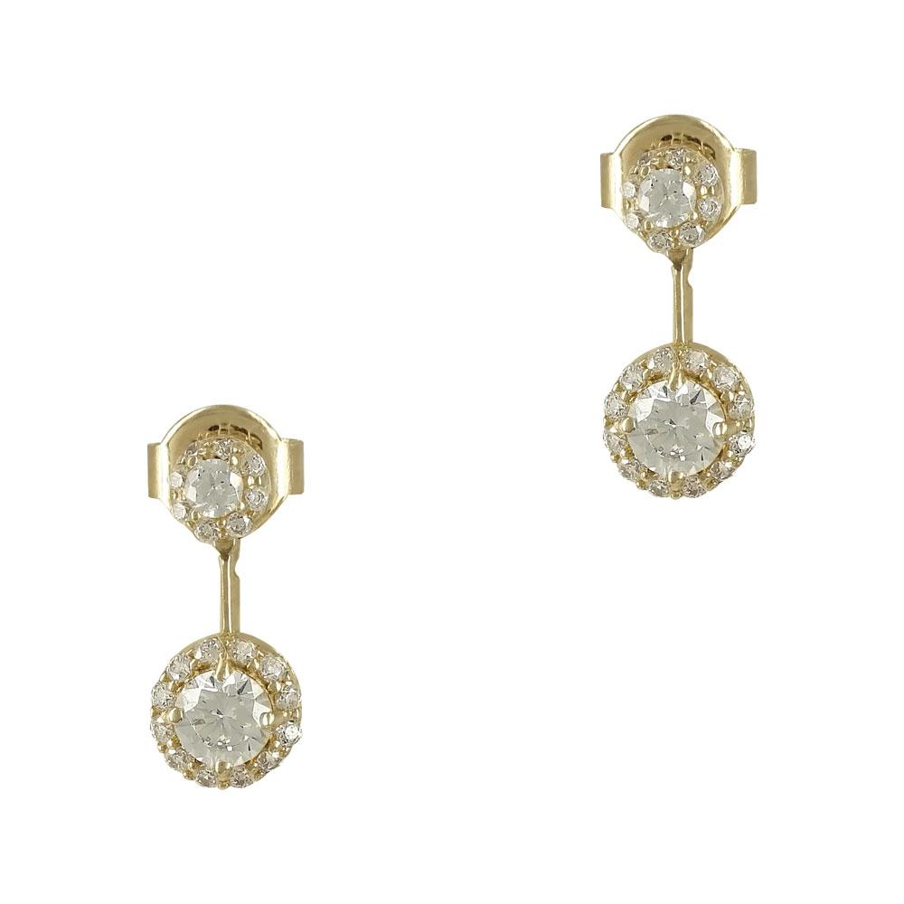 Kίτρινα Χρυσά Σκουλαρίκια Με Πέτρες K14 SK758