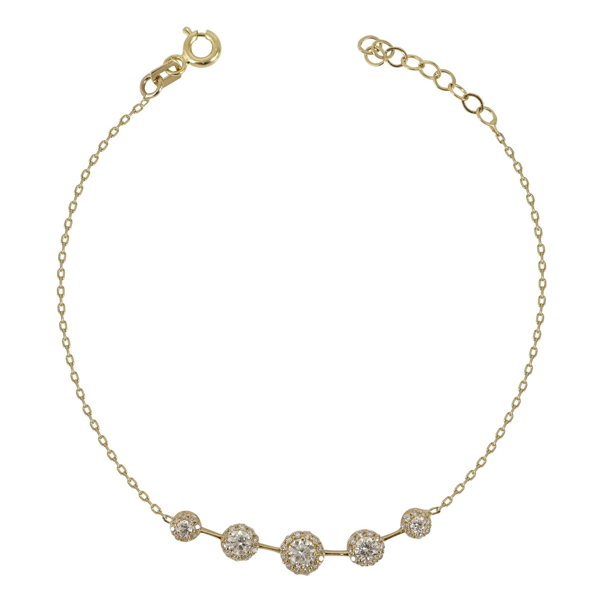 Kίτρινο Χρυσό Βραχιόλι Με Πέτρες Κ14 VR497