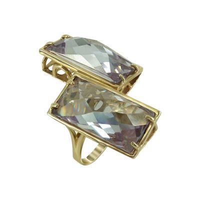 Κίτρινο Χρυσό Δαχτυλίδι Mε Χρωματιστές Πέτρες Κ14 DX662