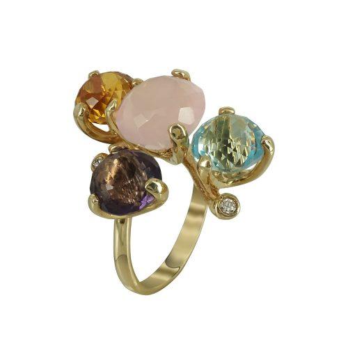 Κίτρινο Χρυσό Δαχτυλίδι Mε Χρωματιστές Πέτρες Κ14 DX666