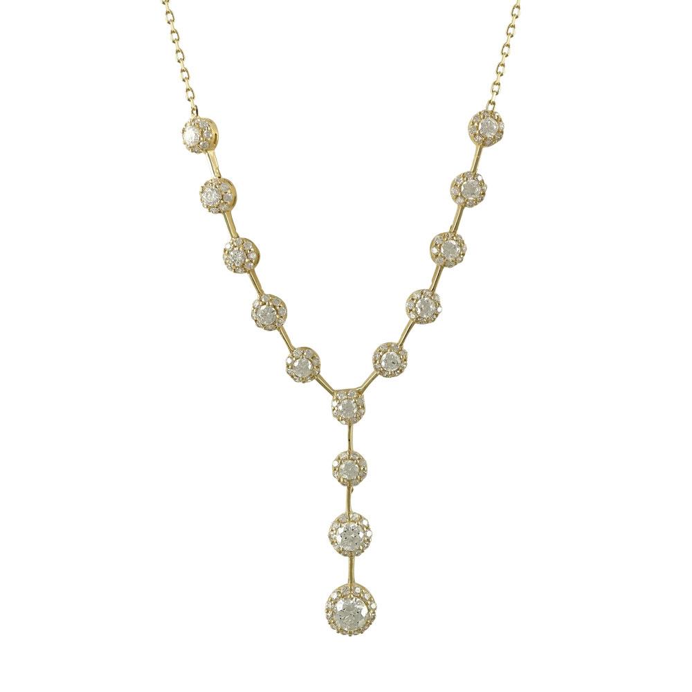 Kίτρινο Χρυσό Κολιέ Με Πέτρες Κ14 KL673