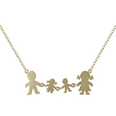 Κίτρινο Χρυσό Κολιέ με Οικογένεια Κ9 KL671