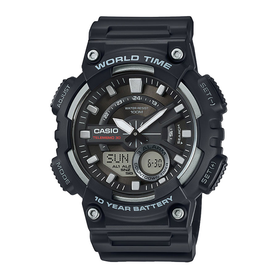 CASIO Collection Black Rubber Strap AEQ-110W-1AVEF