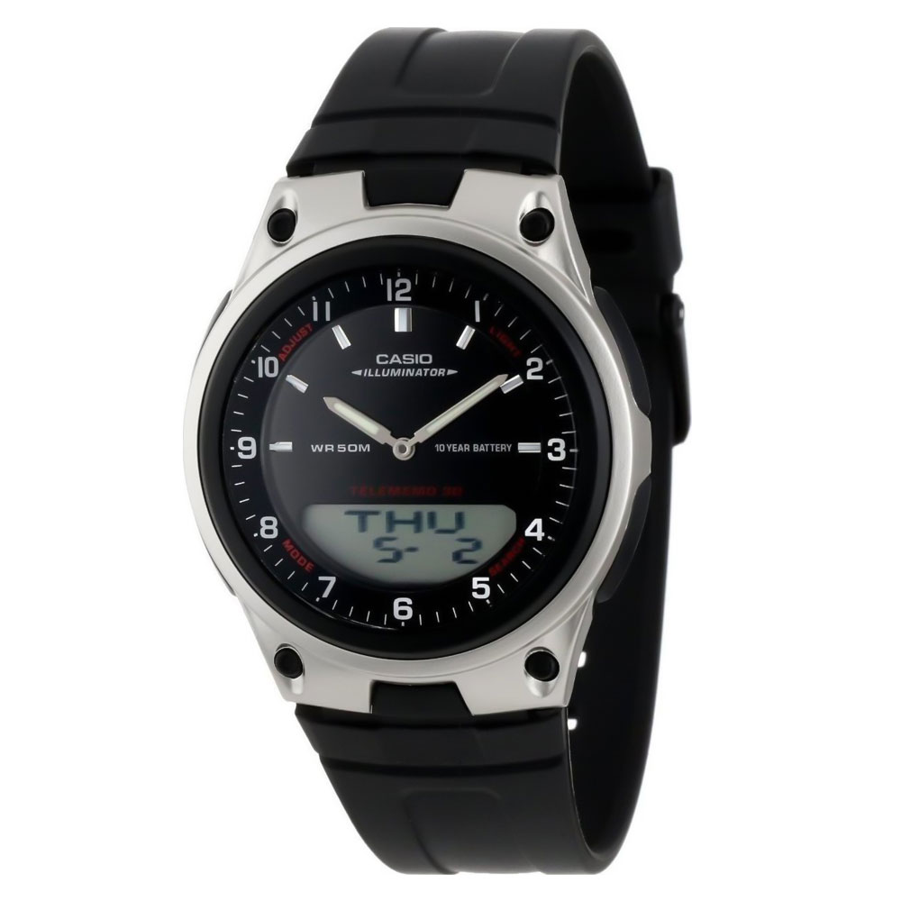 CASIO Collection Black Rubber Strap AW-80-1AV