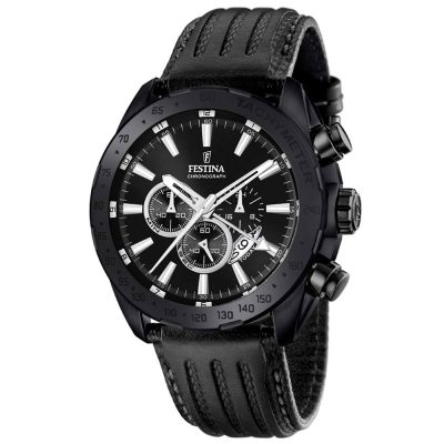 FESTINA Black Leather Chronograph F16901-1