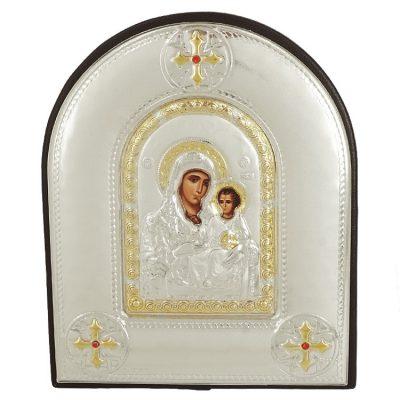 Ασημένια Εικόνα με την Παναγία με Επίχρυσες Λεπτομέρειες σε Δέρμα MA/E4102DX/BR