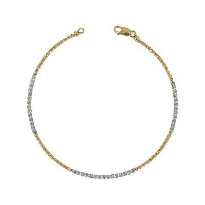 Δίχρωμο Χρυσό Βραχιόλι Με Πέτρες K14 VR94941