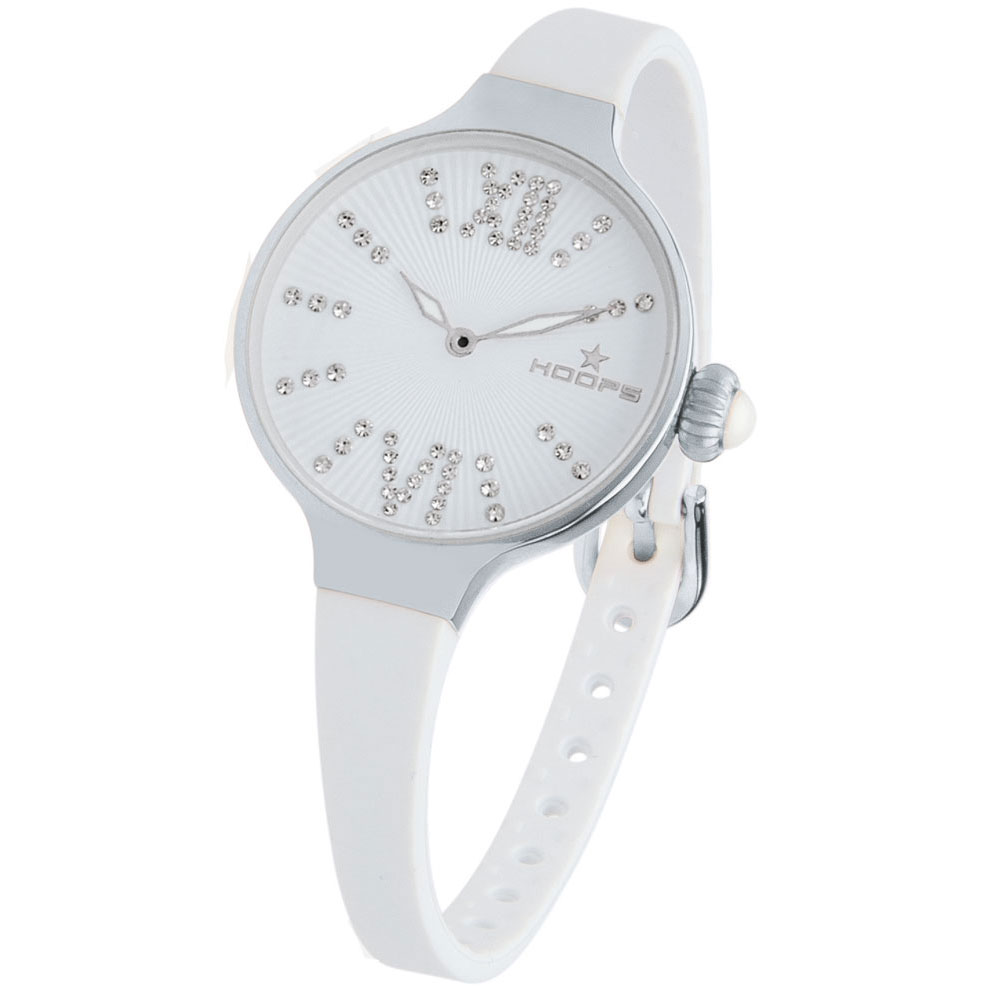 HOOPS Cherie Midi Crystals White Rubber Strap 2570LD02