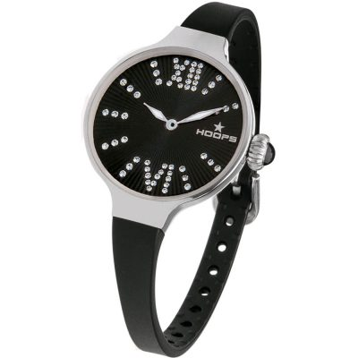 HOOPS Cherie Midi Crystals Black Rubber Strap 2570LD01