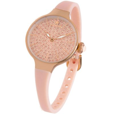 HOOPS Cherie Diamonds Rose Rubber Strap 2593LBG04
