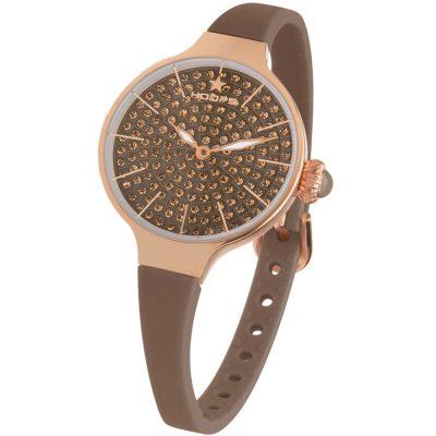 HOOPS Cherie Diamonds 160 Brown Rubber Strap 2593LBG08