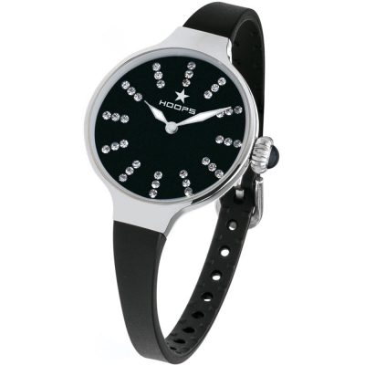 HOOPS Nouveau Cherie Diamond Crystals Black Rubber Strap 2594LS01