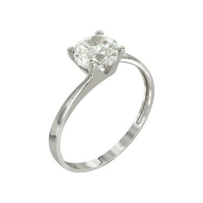 Λευκόχρυσο Μονόπετρο Δαχτυλίδι Κ14 DX653