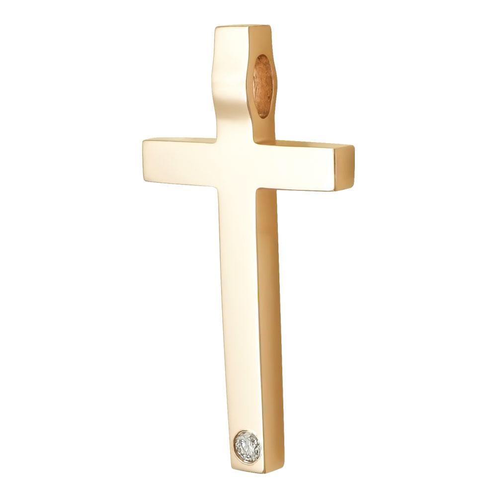 Σταυρός Βάπτισης Γυναικείος Σε Ροζ Χρυσό 18 Καρατίων Με Διαμάντια Brilliant ST2310