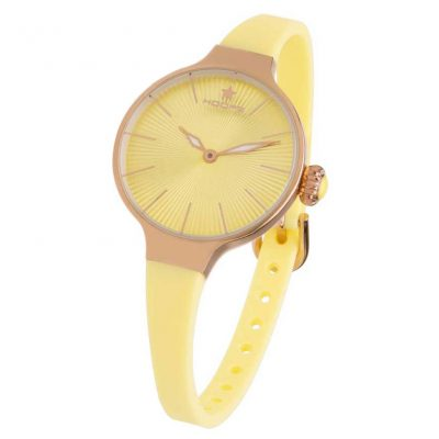 HOOPS Nouveau Cherie Rose Gold Yellow Rubber Strap 2583LRG10