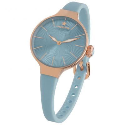 HOOPS Nouveau Cherie Rose Gold Light Blue Rubber Strap 2583LRG13