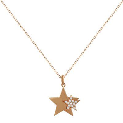 Ροζ Χρυσό Μενταγιόν Με Αστεράκι Κ14 Μ95651