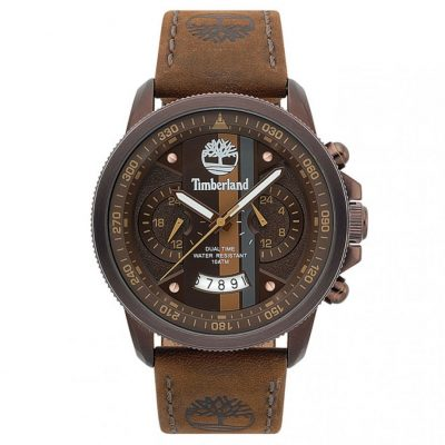 TIMBERLAND Bradshaw Dual Time Brown Leather Strap 15423JSBZ-12