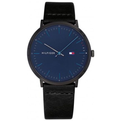 TOMMY HILFIGER James Black Leather Strap 1791462