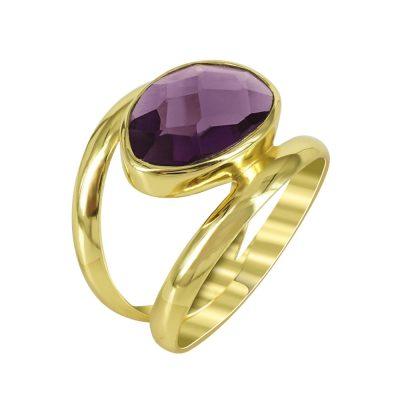 Ασημένιο Επιχρυσωμένο Δαχτυλίδι Με Πολύχρωμες Πέτρες DX675