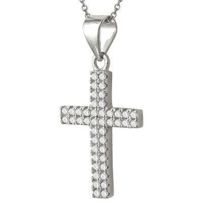 Σταυρός Βάπτισης Γυναικείος Ασημένιος ST2417