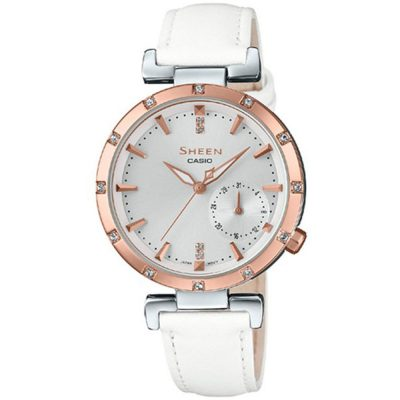 CASIO Sheen Crystals White Leather Strap SHE-4051PGL-7AUER