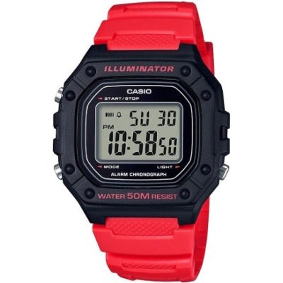 CASIO Collection Red Rubber Strap W-218H-4BVEF