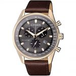CITIZEN Eco-Drive Chronograph Brown Leather Strap AT2393-17H