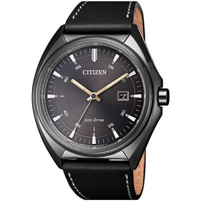 CITIZEN Eco-Drive Black Leather Strap AW1577-11H