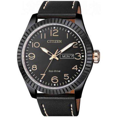 CITIZEN Eco-Drive Casual Black Leather Strap BM8538-10E
