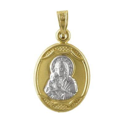 Δίχρωμο Χρυσό Φυλαχτό με την Παναγίτσα K9 PA94402