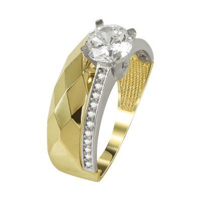 Δίχρωμο Χρυσό Μονόπετρο Δαχτυλίδι Κ14 DX97724