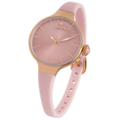 HOOPS Nouveau Cherie Rose Gold Pink Rubber Strap 2583LRG14