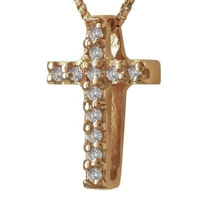 Γυναικείος Σταυρός Σε Ροζ Χρυσό 18 Καρατίων Mε Διαμάντια Brilliant ST93220