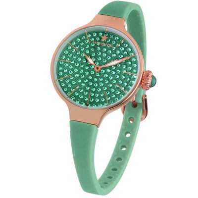 HOOPS Cherie Diamonds 160 Gold Crystals Green Rubber Strap 2593LBG03