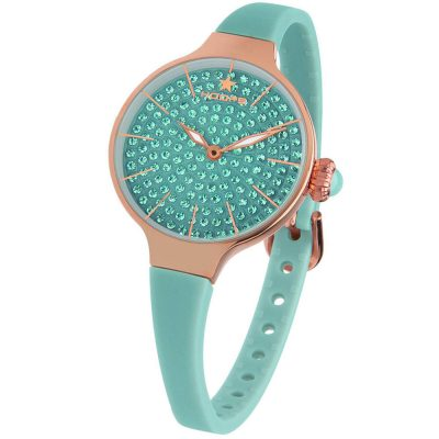 HOOPS Cherie Diamonds 160 Rose Gold Crystals Turqoise Rubber Strap 2593LBG06