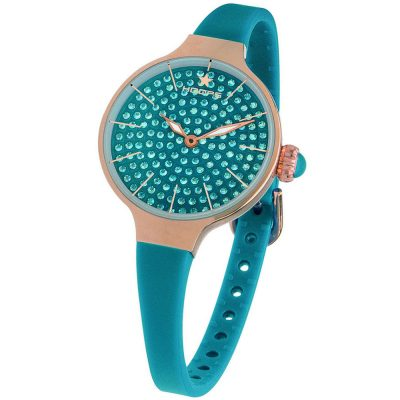 HOOPS Cherie Diamonds 160 Gold Crystals Blue Rubber Strap 2593LBG07