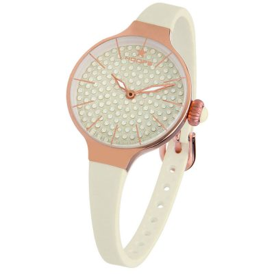 HOOPS Cherie Diamonds 160 Gold Crystals Beige Rubber Strap 2593LBG09