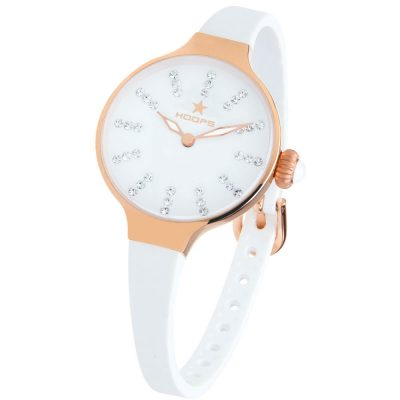 HOOPS Nouveau Cherie Diamond Crystals White Rubber Strap 2594LRG02