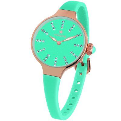 HOOPS Nouveau Cherie Diamond Index Gold Crystals Light Green Rubber Strap 2594LRG04