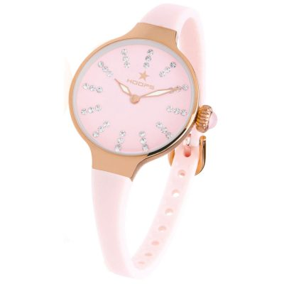 HOOPS Nouveau Cherie Diamond Crystals Rose Gold Pink Rubber Strap 2594LRG06