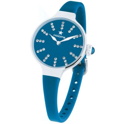 HOOPS Nouveau Cherie Diamond Crystals Blue Rubber Strap 2594LS03