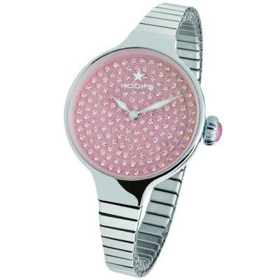 HOOPS Cherie Diamond Crystals Elastic Silver Metallic Bracelet 2601LS04