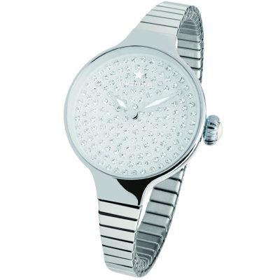 HOOPS Cherie Diamond Crystals Elastic Silver Bracelet 2601LS05