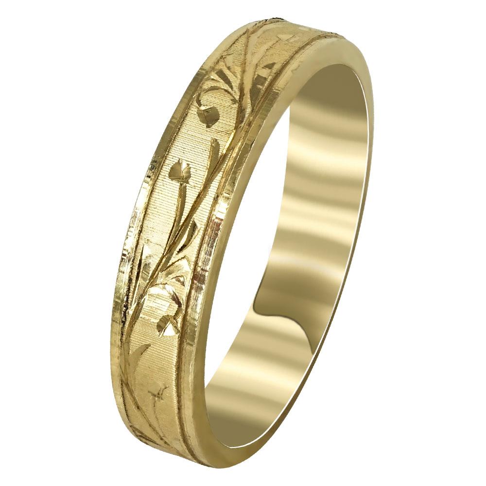 Kίτρινη Χρυσή Βέρα Γάμου WR252 k14