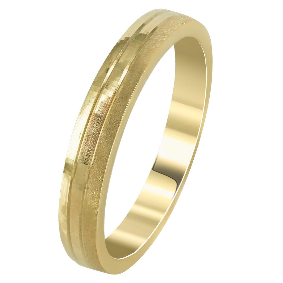 Kίτρινη Χρυσή Βέρα Γάμου WR265 k14